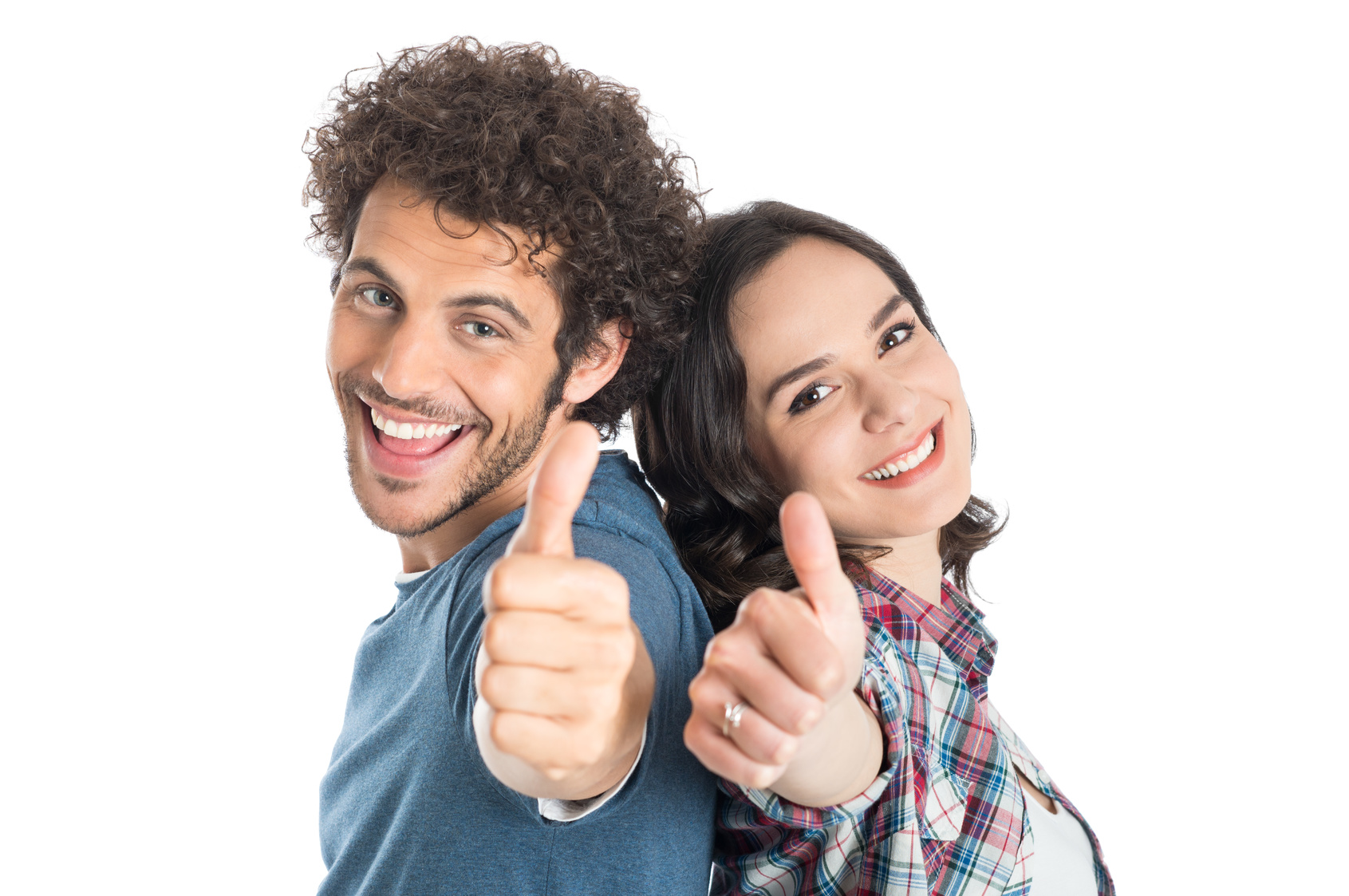 Portrait Of Happy Young Couple Showing Thumb Up Isolated White Background